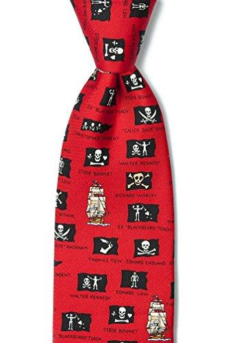 (Red Silk Tie | Pirate Flags Necktie )