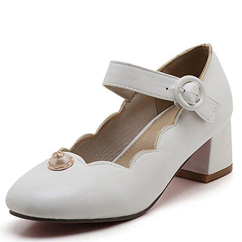 Fashion Heel Moda Puntera Redonda Zapatos de Tacón Grueso con Hebilla para Mujer blanco