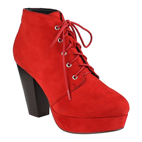 Beston Ei44 Mujeres Lace Up Stacked Chunky Tacón Plataforma Tobillo Botaie Rojo