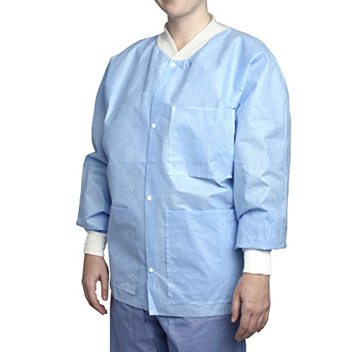 MediChoice Staff Jackets, Knit Collar Cuff Snap Front, Fluid-Resistant, Spunbond Meltblown Spunbond, Small, Blue (Case of (Cuff Staff Length Lab Coat)