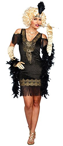 [Dreamgirl Women's Swanky Flapper, Black/Gold, S] (Flapper Costumes Amazon)