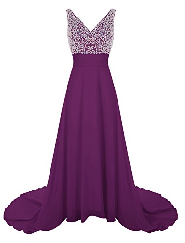 Wedtrend Women's Long Chiffon Prom Dress with Train Bridesmaid Dress with Beads WT12007 Grape 14