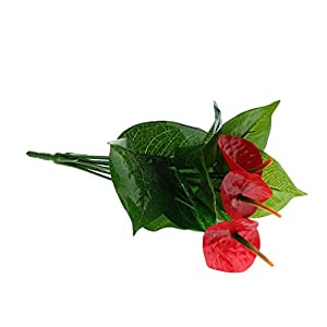 SM SunniMix Fake Plant 12 Branches 3 Red Anthurium Flowers Garden Decor 94