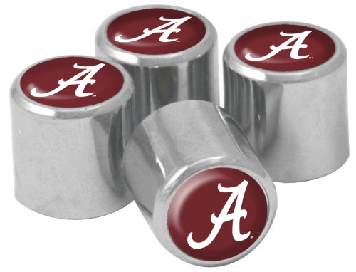 NCAA Alabama Crimson Tide Metal Tire Valve Stem Caps, 4-Pack (Alabama Metal)