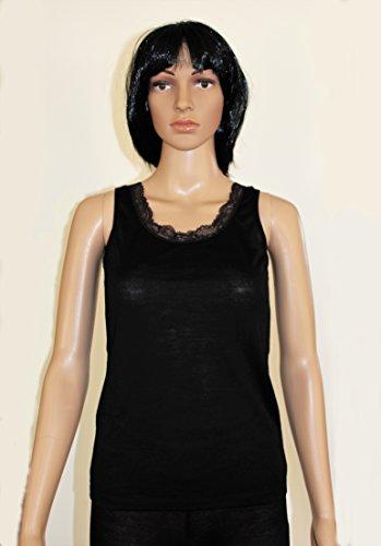 Elika Woman's Merino-Wool Strap Top/Camisole – wide strap with lace, Black / Elika Sous-vêtement Femme Haut/Caraco en Laine Mérinos - larges bretelles avec dentelle, Noir