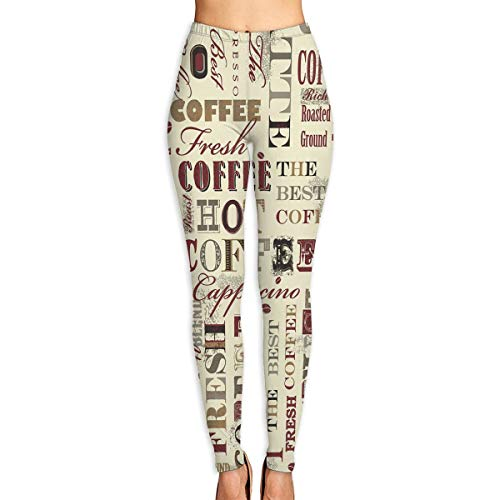Women's Yoga Leggings Pants Fresh Hot Coffee Recipes Sport Pilates Workout Tights Skinny Pants -