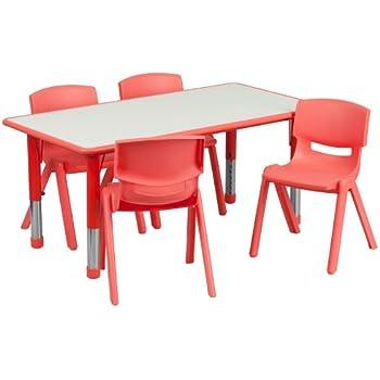 Flash Furniture 23.625u0027u0027W X 47.25u0027u0027L Rectangular Red Plastic Height  Adjustable