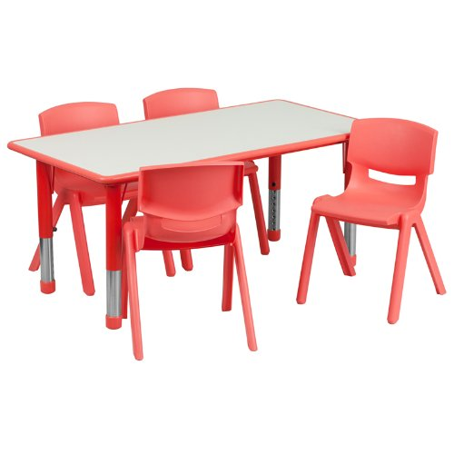 Flash Furniture 23.625''W x 47.25''L Rectangular Red Plastic Height Adjustable Activity Table Set with 4 Chairs - Rectangular Set