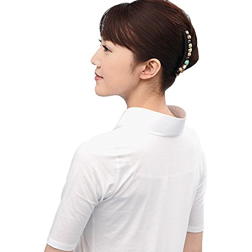 ふぁんじゅ 白衿 半衿付きTシャツ 半衿付き肌襦袢 M~3L 【 半衿付け 肌襦袢 腰紐 伊達締めが一切不要 毎回洗えていつもでも清潔 誰でも簡単に衿元美人に 】 15SAK-03 B01IQRJIRO   LL