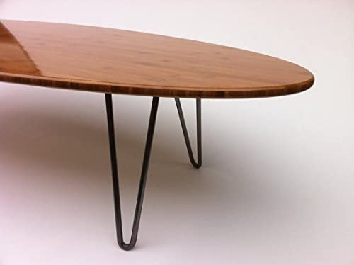 66 Surf Board Elliptical Mid Century Modern Coffee Table Hairpin Legs – Atomic Era Design in Caramelized FSC Bamboo