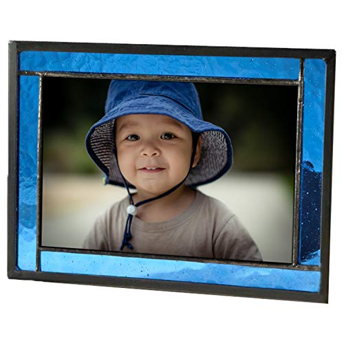 Blue Picture Frame Stained Glass Home Décor Office Deck Table Top 4x6 Photo Horizontal Vertical Easel Back Series J Devlin -