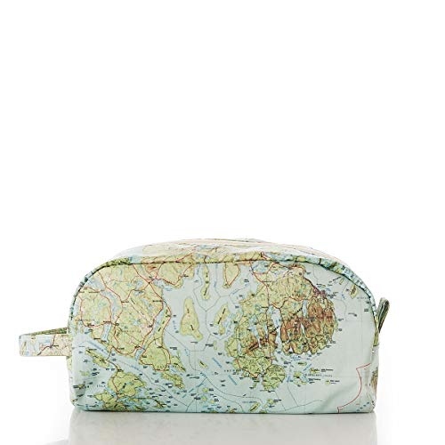 Sea Bags Recycled Sail Cloth Antique Bar Harbor Map Toiletry Bag