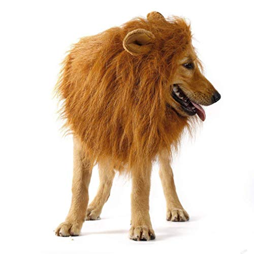 Dog Lion Mane with Ears Dog Costume Pet Lion Mane Wig for Large Medium Dogs Hair Holloween Christmas Festival Party Fancy Dress Up Clothes Costume, Make Your Dog Lion King (Brown)]()