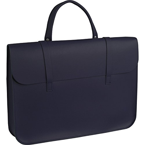 Deluxe Stylish Vintage Real Leather Music or Laptop Case Satchel - 7 Colours (Red) Navy
