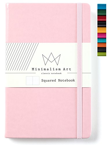 Minimalism Art | Classic Notebook Journal, Size: 5 X 8.3, A5, Pink, Squared Grid Page, 192 Pages, Hard Cover/Fine PU Leather, Inner Pocket, Quality Paper - 100gsm | Designed in San Francisco