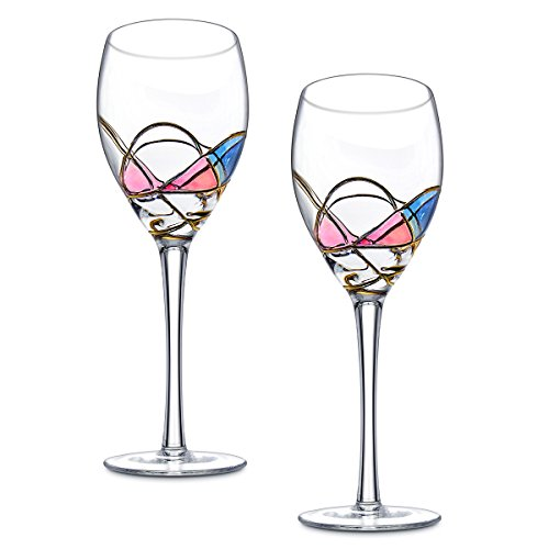 Ludan set of 2 beautiful hand painted crystal wine for Large white wine glasses