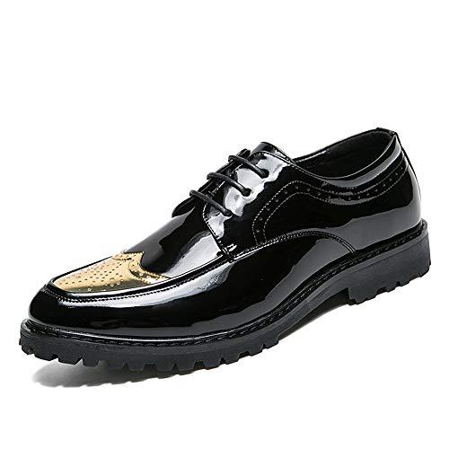 Doré 41 EU SCSY-Oxford Chaussures Richelieu en Cuir Verni pour Homme