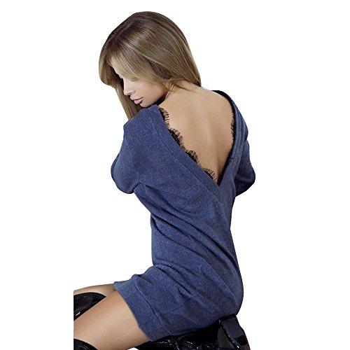 Robe Longue Courte Ado Fille Chic Bleu Blouse Uni Maille Droite Angelof Femme Fine Pull Foncé Dentelle Manche HHdw6S