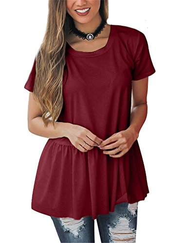 GOBLES Women Casual Solid Summer Loose Ruffle Hem T-Shirts Blouse Tops Wine (Ruffle Tee Top)