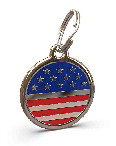 (UNLEASHED.DOG Customizable Engraved Dog ID Tag - Stainless Steel with USA Flag Enamel Inlay - Large)