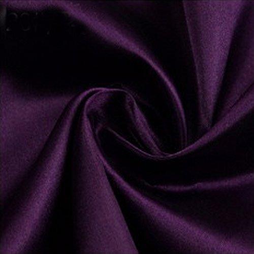 - B&Y Satin Fabric 50Dx75D Bridal Fabric by The Yard for Wedding Dress Fashion Crafts Decorations Silky Satin(1 Yard, Deep Purple)