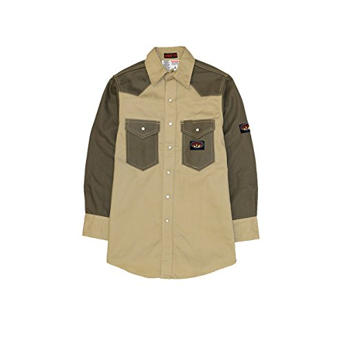 2 Tone Western Shirt (Men's Rasco 10-oz. Fire Retardant Two Tone Long Sleeve Western Shirt, KHAKI/GRN, M)