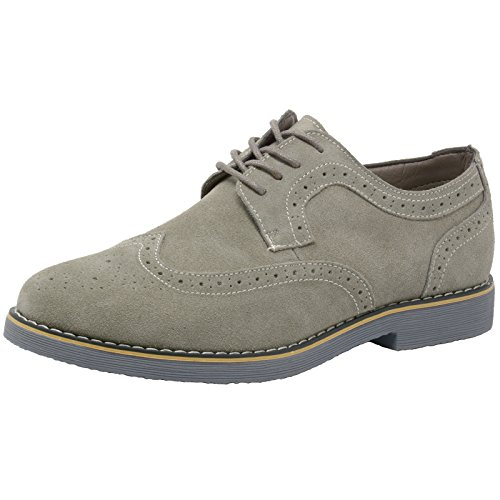alpine swiss Men's S817 Beau Dress Shoes Genuine Wing Tip Oxfords, Beige, 8