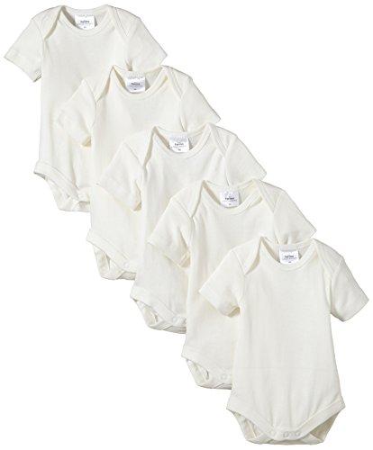Twins Unisex Baby - Kurzarm-Body aus Bio Baumwolle im 5er Pack, Einfarbig, Gr. 56, Off White (snow white)