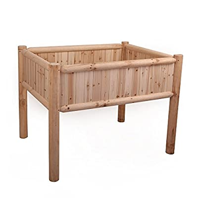 Songsen Outdoor Natural Color Log Wood Raised Garden Bed Patio Deck Garden Furniture
