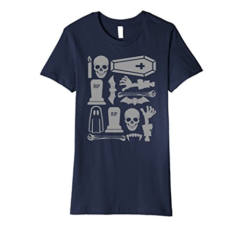 Womens Funny Cute Halloween Skull Tombstone Coffin Zombie RIP Shirt XL Navy