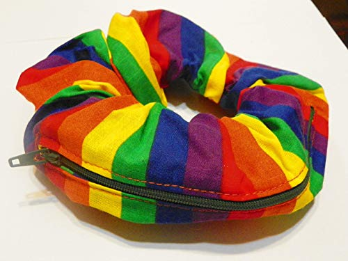 Rainbow Gay Pride design Handmade Scrunchie Purse w zipper storage Great for Gym Swim Jog by Yvonnes Alterations & Designs