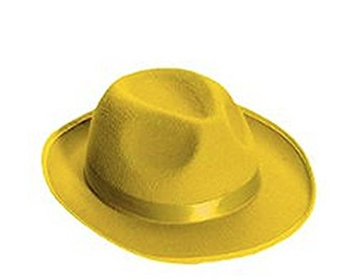 Forum Novelties Men's Deluxe Adult Novelty Fedora Hat, Yellow, One (Zombie Gangster Halloween Costumes)