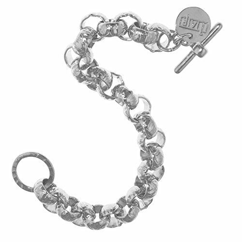 (Collection Bijoux Sterling Silver Electro Plated Hammered Round Belcher Toggle Bracelet, 7.5