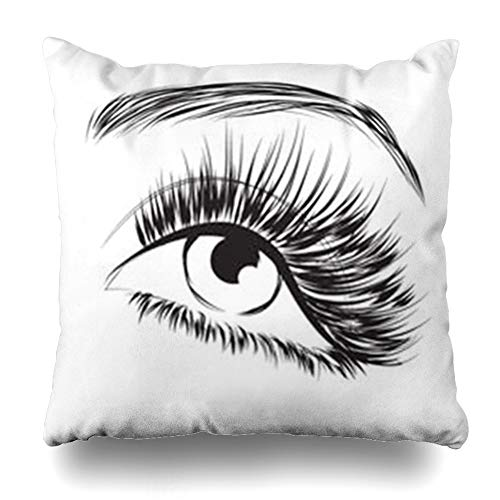 (DaniulloRU Throw Pillow Covers Black Eyebrow Lovely Eye Long Eyelashes Lash Extension Eyelash Realistic Abstract Lashes Makeup Home Decor Sofa Cushion Cases Square Size 18 x 18 Inches)