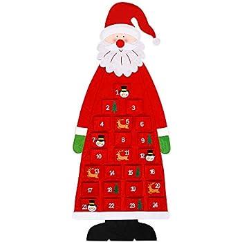 24 Days Felt DIY Christmas Countdown Calendar Garland Candy Gift Bags for Holiday Christmas Decorations Aneco Christmas Advent Calendar 2019