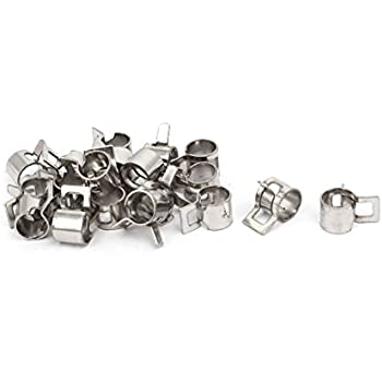uxcell 6mm Inner Dia Nickel Plated Spring Clip Water Pipe Fuel Line Hose Clamps 20pcs