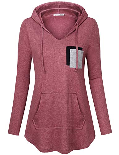 Messic Women Hoodies & Sweatshirts, Womens Casual Pullover Sweaters V-Neck Hoodie Long Sleeve Kangaroo Pocket Tunic Sweatshirt Loose Fit Tunic Tops Wine Red Medium by Messic