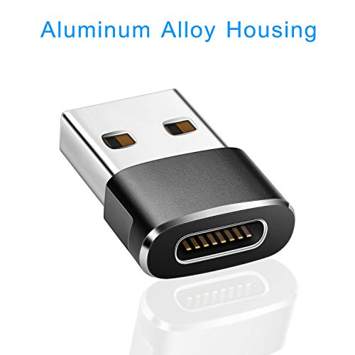 Elebase USB C Female to USB Male Adapter (2 Pack) (Upgraded Version),Type C to USB A Connector,Works with Laptops,Chargers,and More Devices with Standard USB A Interface (Black&Grey)