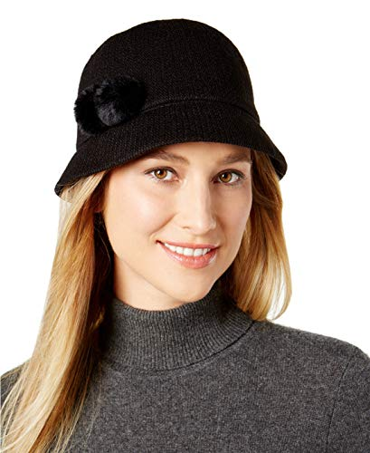 aa51d6550bfa5 August Hats Company Women's Faux Fur Pom-Pom Cloche, Black, One Size