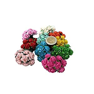 100 Mixed Color 10mm Artificial Mulberry Paper Rose Flower Wedding Scrapbook 1.5cm DIY Craft Scrapbook Scrapbooking Bouquet Craft Stem Handmade Rose Valentines Anniversary Embellishment Mini Roses 5