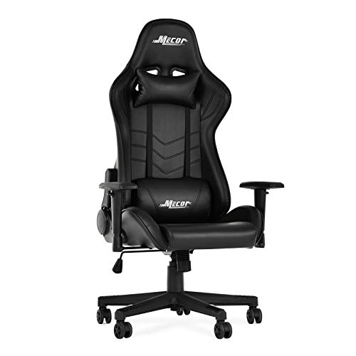 Mecor Gaming Chair Game Racing Ergonomic PU Leather Office Computer Desk Swivel Chair, Backrest Handrail and Seat Height Adjustment with Headrest and Lumbar Support,(Black)