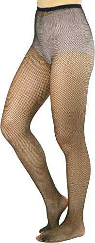 Black And Gold Glitter (ToBeInStyle Women's Spandex Seamless Glittery Fishnet Pantyhose Tights Hosiery - Black With Gold Glitter - One Size:)