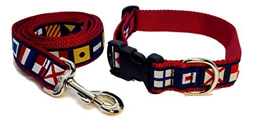 (Preston Nautical Code Flag Dog Collar and Leash Set Multi Color Ribbon on Red Nylon Webbing (Medium))
