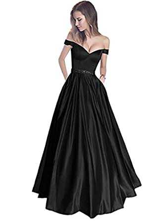 Jazylynbride 2018 Satin Off the Shoulder Sweetheart Prom Evening Dress with Beaded Waist Band