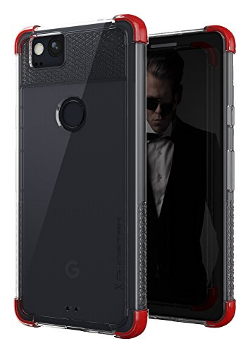 Google Pixel 2 Case | Ghostek Covert Series Ultra Slim Clear Armor Shockproof Protective Cover | Fingerprint Compatible | Silicone Gel Corners | Red