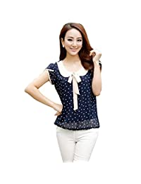 FOREVER YUNG Women's Short Sleeve Slim Fit Polka Dotted T-shirt