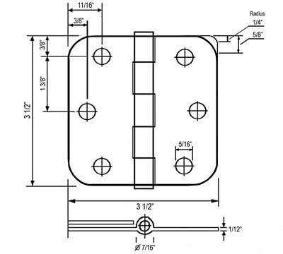 Door Hardware 20 Satin Nickel 3.5'' w 5/8'' Radius Door Hinge Brushed Nickel Interior Round 3 in