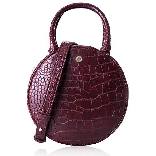 The Lovely Tote Co. Women's Fashion Crocodile Circle Crossbody Bag (Mini, Wine)