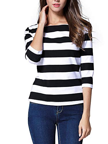 FENSACE Prison Shirt Stripes T-Shirt Bank Robber Costume Women, Black, Small]()