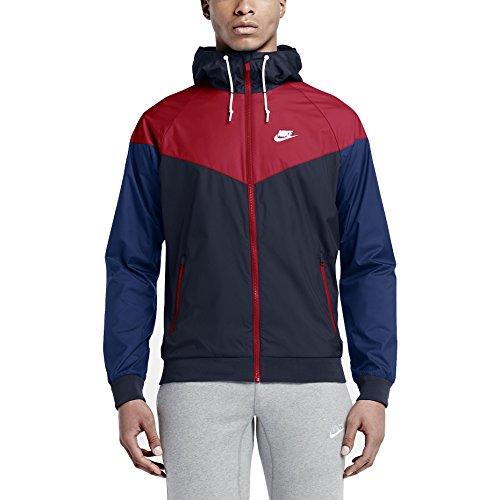 (NIKE Mens Windrunner Hooded Track Jacket Obsidian Blue/University Red 727324-452 Size Large)